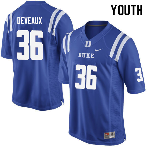 Youth #36 Elijah Deveaux Duke Blue Devils College Football Jerseys Sale-Blue